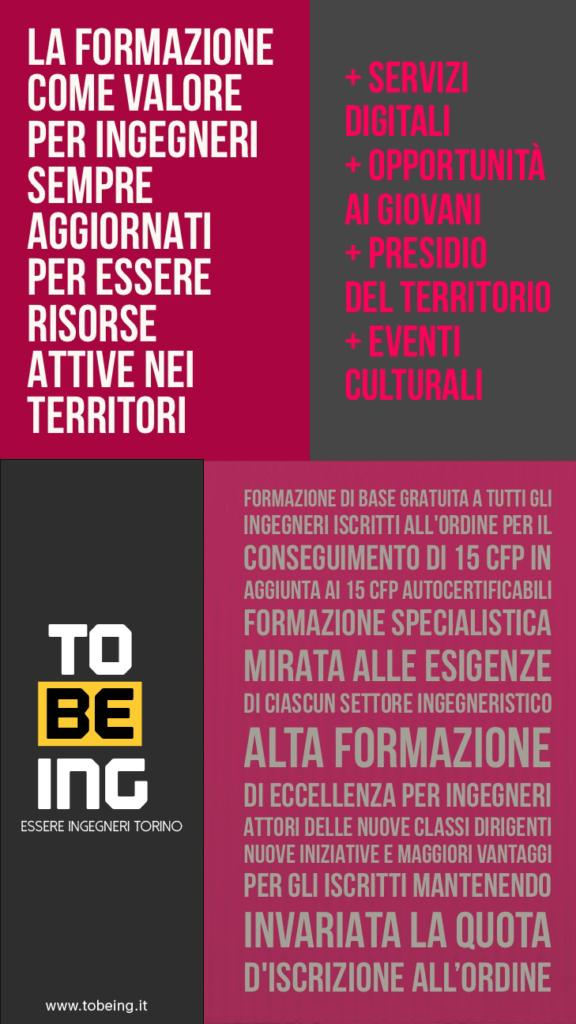 Elezioni Ordine Ingegneri Torino 2017 - TOBEING Programma